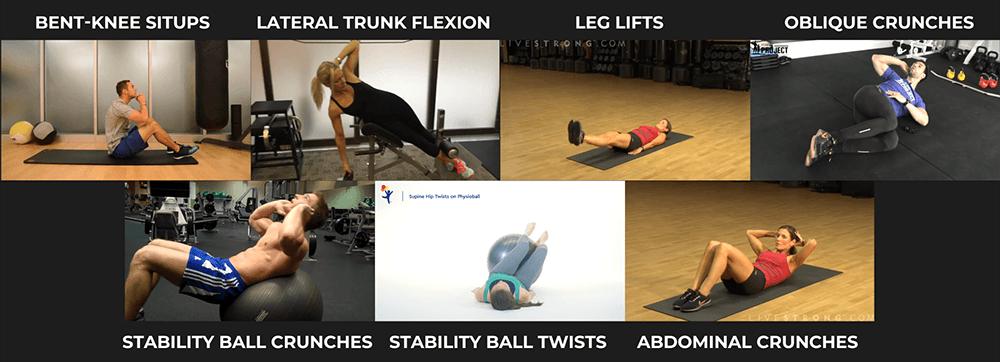 Abdominal Exercises - bent knee situps lateral trunk flexion leg lifts oblique crunches stability ball crunches stability ball twists abdominal crunches